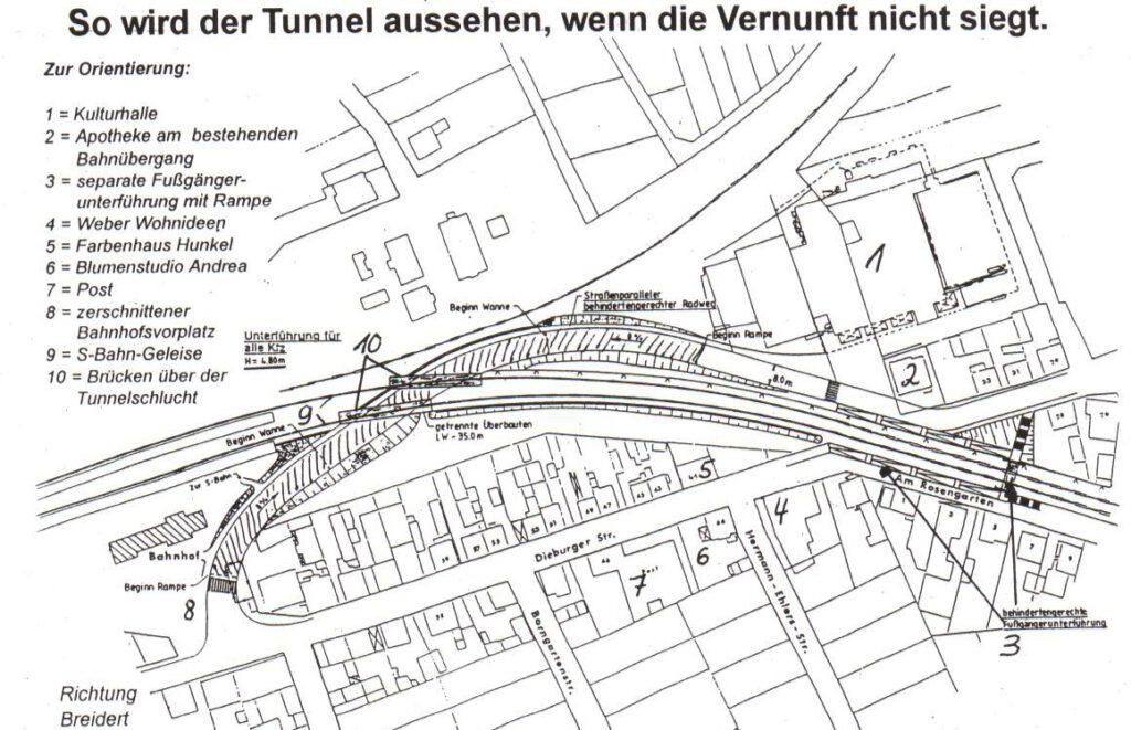 April 1995. So wird der Tunnel aussehen. Wo ist im großen Grunderwerb notwendig? Wo stehen die -einige- Häuser, die abgerissen werden müssen?