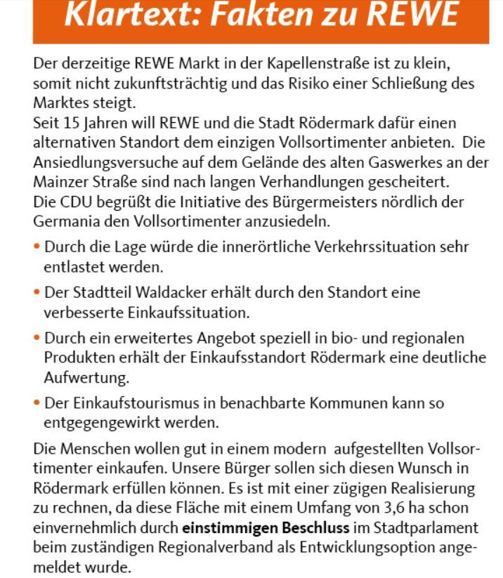 Fakten der CDU. REWE bei der Germania