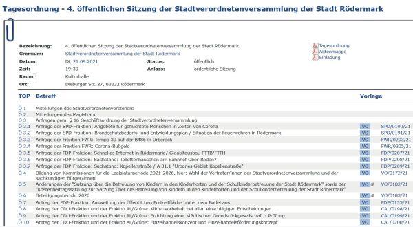 Stadtverordnetenversammlung (Stavo) 21.09.2021