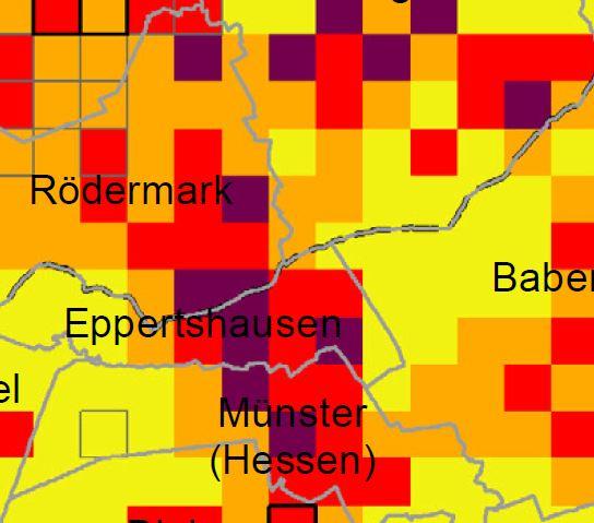 Ausschnitt Starkregenkarte Land Hessen