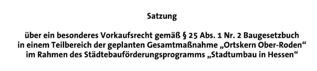 Vorkaufsrecht Ortskern Ober-Roden